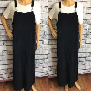 Vintage 90s Black Suspender Maxi Dress